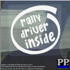 1 x Rally Driver Inside-Window,Car,Van,Sticker,Sign,Vehicle,Adhesive,Brands,Race